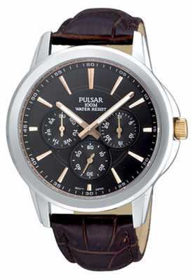 Pulsar Mens Stainless Steel Black Dial Brown Croc-Pattern Strap PP6019X1