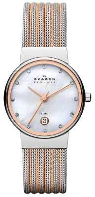 Skagen Womens' Two Tone Pearl Dial Crystal-Set Mesh Strap Watch 355SSRS