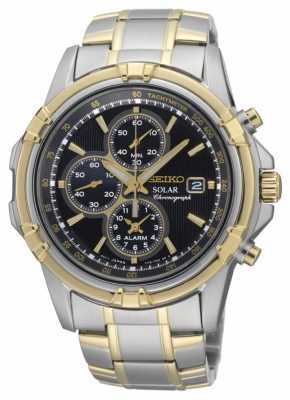 Seiko Mens Two Tone Black Dial Solar Power Chronograph SSC142P1