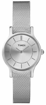 Timex Womens' Stainless Steel Silver Dial Mesh Strap Watch T2P167