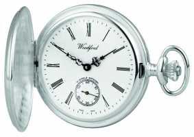 Woodford Stainless Steel White Dial Full Hunter Case Pocket Watch 1001