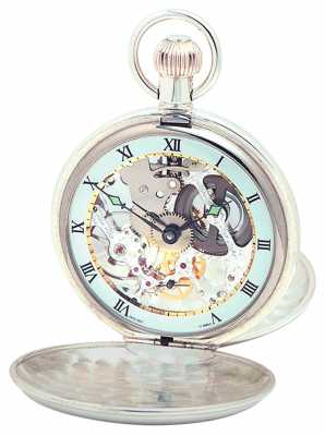 Woodford Sterling Silver Plain Skeleton Swiss Pocket Watch 1003