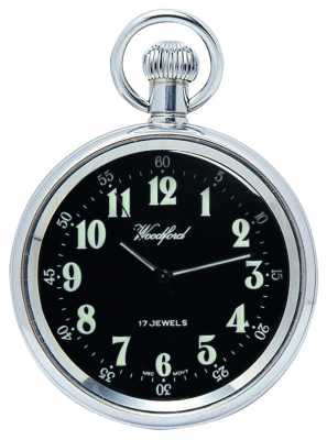 Woodford Mechanical Open-faced Pocket Watch Stainless Steel Black Dial 1040