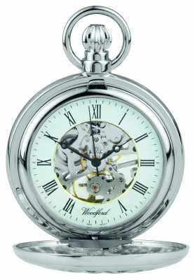 Woodford Stainless Steel Half hunter Flower-Desgign Pocket Watch 1052