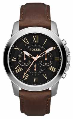 Fossil Mens Black Dial Stainless Steel Brown Leather Strap Chrono FS4813