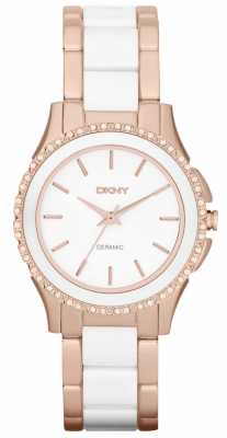 DKNY Womens' White Ceramic & Rose Gold Crystal-Set Watch NY8821