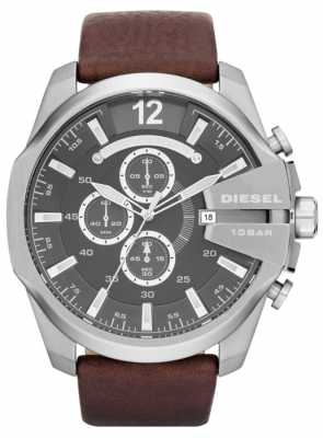 Diesel Mens Mega Chief Grey Dial Brown Leather Strap Chronograph DZ4290