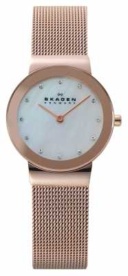Skagen Womens' Rose-Gold Plate Pearl Crystal-Set Dial Mesh Strap 358SRRD