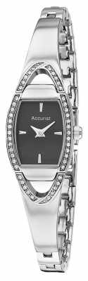 Accurist Womens' Stainless Steel Black Oval Dial Crystal Set Watch LB1458B