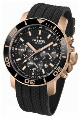 TW Steel Mens Black Dial Rose-Gold Detail Rubber Strap Chrono TW0703