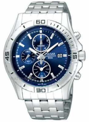 Pulsar Mens Stainless Steel Chronograph Blue Dial Watch PF8397X1