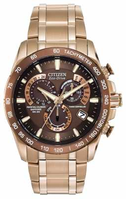 Citizen Mens Perpetual Chronograph A-T Gold-Plate Stainless Steel AT4106-52X