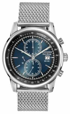 Citizen Stainless Steel Dark Blue Dial Mesh Chronograph Watch CA0331-56L