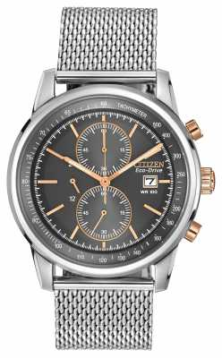 Citizen Mens Stainless Steel Gold Detail Black Dial Mesh Chronograph Watch CA0336-52H