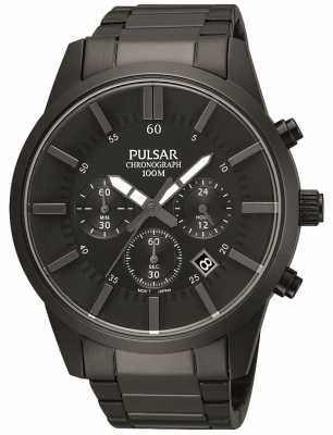 Pulsar Mens Black Ion-Plated Steel Chronograph PT3345X1