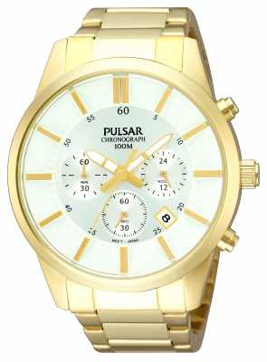 Pulsar Mens Gold Plate White Dial Chronograph PT3342X1