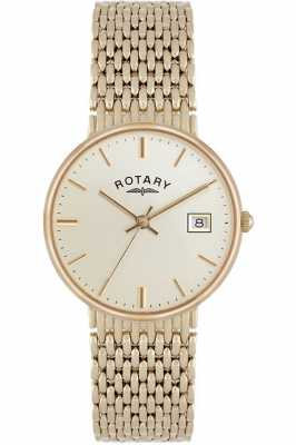Rotary 9ct Gold Mens Bracelet Champagne Dial GB10900/03