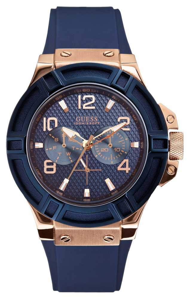 guess mens watches official uk retailer first class watches guess mens rigor blue and rose gold watch w0247g3