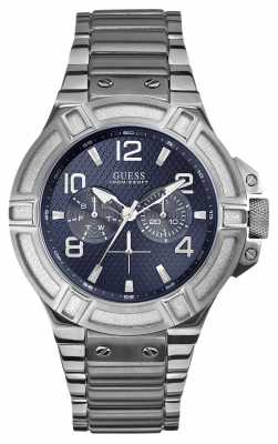 Guess Mens Blue Dial Stainless Steel W0218G2