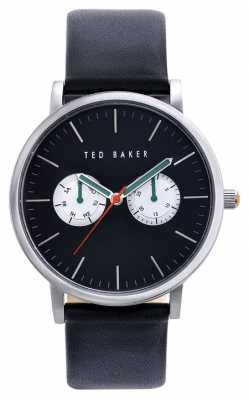 Ted Baker Mens multi Dial watch Black Leather TE1097