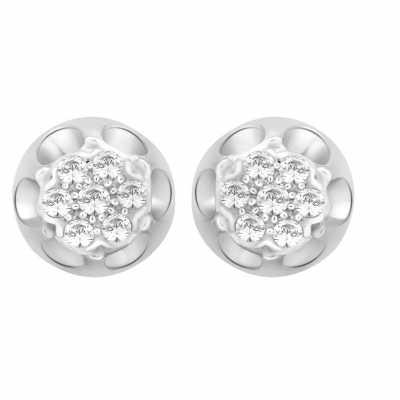 Perfection Diamond Platinum Antique Cluster Stud Earrings (0.25ct G/H SI)  E2124-GHSI-PLT