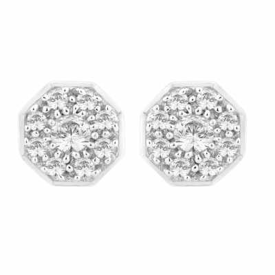 Perfection Diamond 18ct White Gold Art Deco Cluster Stud Earrings (0.50ct G/H SI)  E2132-GHSI-18CT
