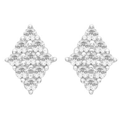 Perfection Diamond Platinum Diamond Shaped Cluster Stud Earrings (0.80ct J I1)  E3673-JI1-PLT