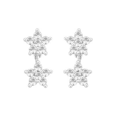 Perfection Diamond 9ct White Gold Double Cluster Drop Earrings (1.00ct J I1)  E3996-JI1-9CT