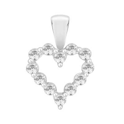 Perfection Diamond 9ct White Gold Claw Set Heart Pendant (0.50ct G/H SI)  P3695-GHSI-9CT