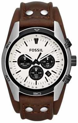 Fossil Mens Coachman Cream/ Black Dial Brown Leather Cuff Watch CH2890