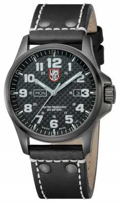 Luminox Mens Black Plated Steel Carbon-Effect Black Leather Strap A.1921