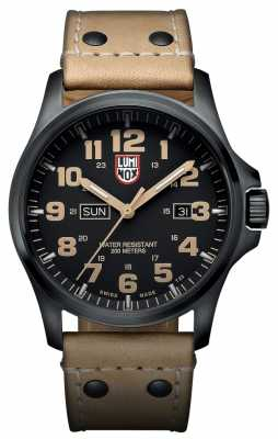 Luminox Mens Black Ion-Plated Steel Brown Detail Brown Leather Watch XL.1925