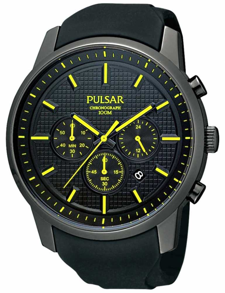 pulsar mens black ion plated yellow watch pt3193x1 pulsar pt3193x1