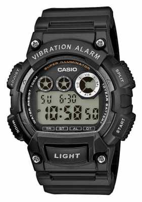 Casio Mens Black Resin Strap Vibration Alarm Watch W-735H-1AVEF
