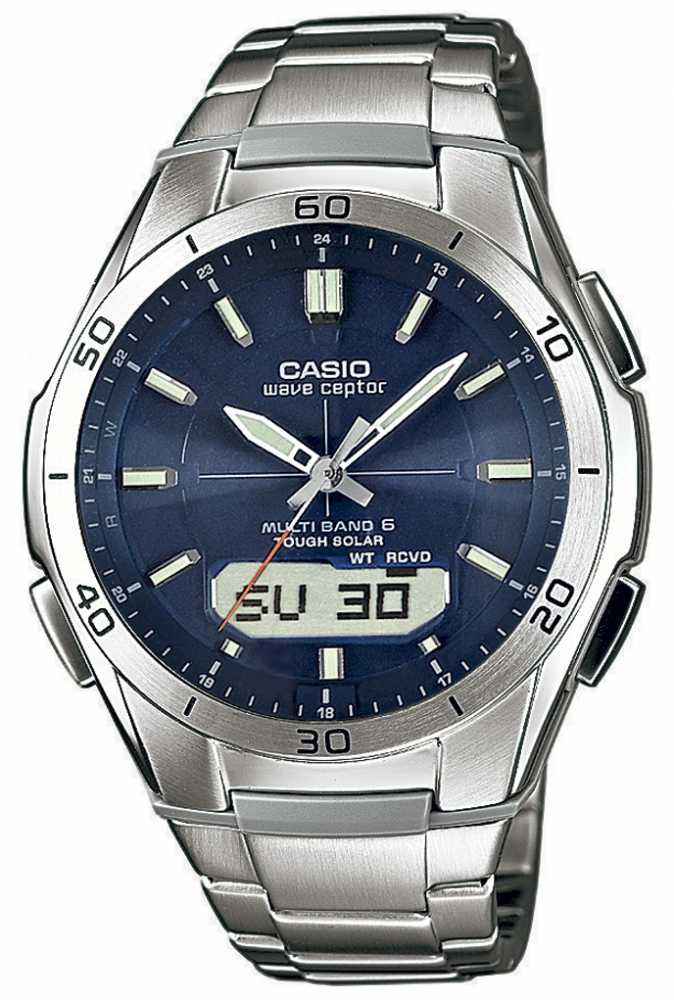 radio controlled watches official uk retailer first class watches casio mens wave ceptor blue dial stainless steel watch wva m640d 2aer