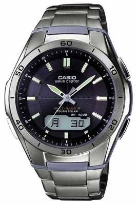 Casio Mens Wave Ceptor Black Dial Titanium Watch WVA-M640TD-1AER