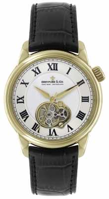Dreyfuss Mens Auto Gold Plate black Leather Strap Skeleton Dial Watch DGS00092/01