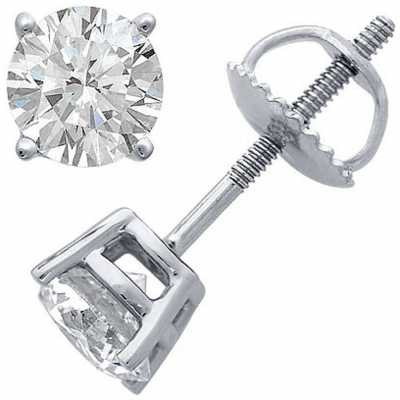 Certified Diamond Earrings Four Claw 0.50ct H SI Screw Back Fittings C50PT-4CLAW-HSI