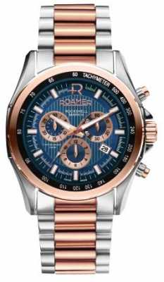 Roamer Mens Rockshell Stainless Steel & Rose Gold Watch 220837494520