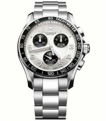 Victorinox Swiss Army Mens Classic Silver/ Black Chronograph 241495