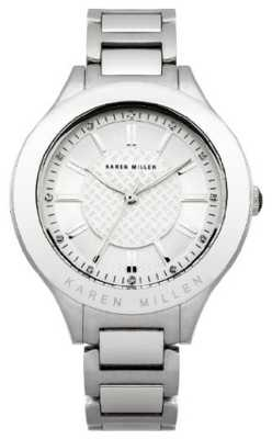 Karen Millen Womens' Stainless-Steel Crystal-Set Round Dial Watch KM124SM