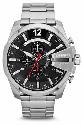 Diesel Mens Mega Chief Stainless Steel Black Dial Watch DZ4308