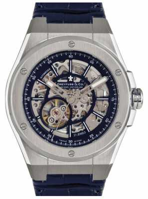 Dreyfuss Mens Stainless Steel Skeleton Dial Blue Strap Watch DGS00079/05
