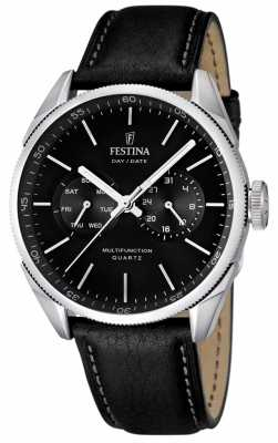 Festina Mens Stainless Steel Black Dial Leather Strap Watch F16629/8