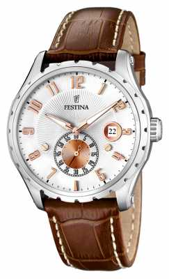 Festina Mens Stainless Steel Brown Leather Strap Watch F16486/3