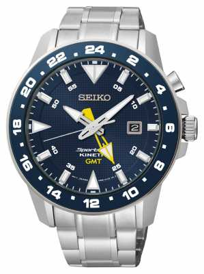 Seiko Mens Sportura Kinetic Stainless Steel Blue Dial Watch SUN017P1