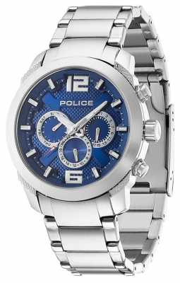 Police Mens Triumph Stainless Steel Blue Dial Watch 13934JS/03M