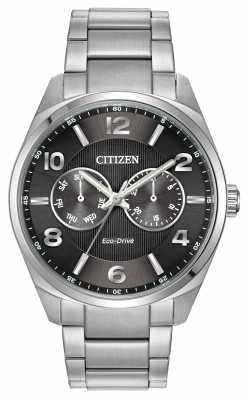 Citizen Mens Stainless Steel Black Dial Watch AO9020-84E