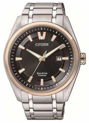 Citizen Mens Titanium Rose Gold Detail Black Dial Date Watch AW1247-58E