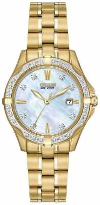 Citizen Womens' Silhouette Diamond Gold Plate Pearl Dial Diamond Set Watch EW1922-58D